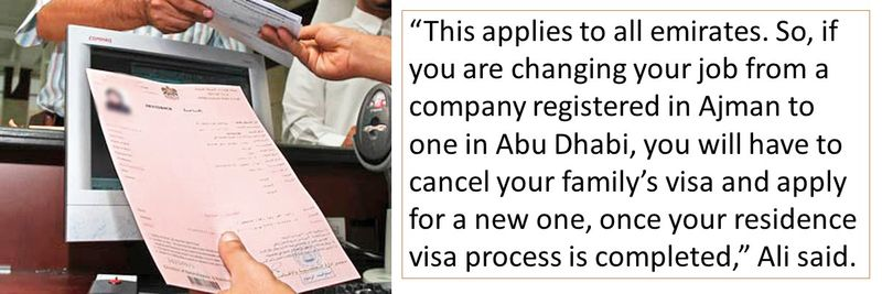 Putting family visa on hold while changing emirates