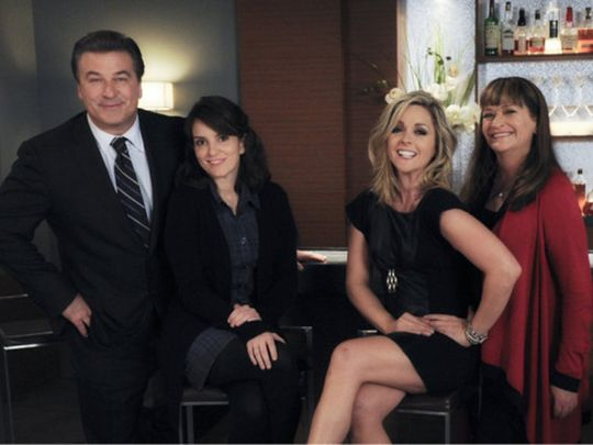 Alec Baldwin, Jane Krakowski, Tina Fey, and Jan Hooks in 30 Rock (2006)-1592979563814