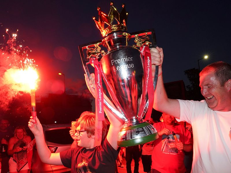 Celebrations in Liverpool after the Reds won the Premier LEague title