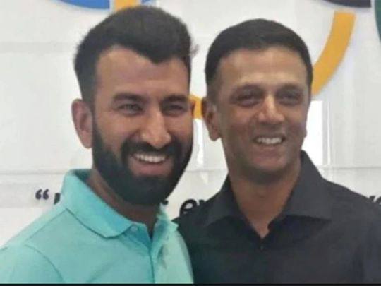 Cheteshwar Pujara with Rahul Dravid