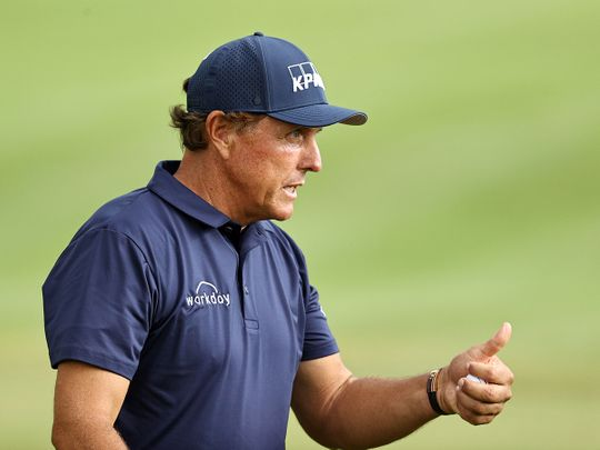 Phil Mickelson during the second round of the Travelers Championship at TPC River Highlands in Connecticut.