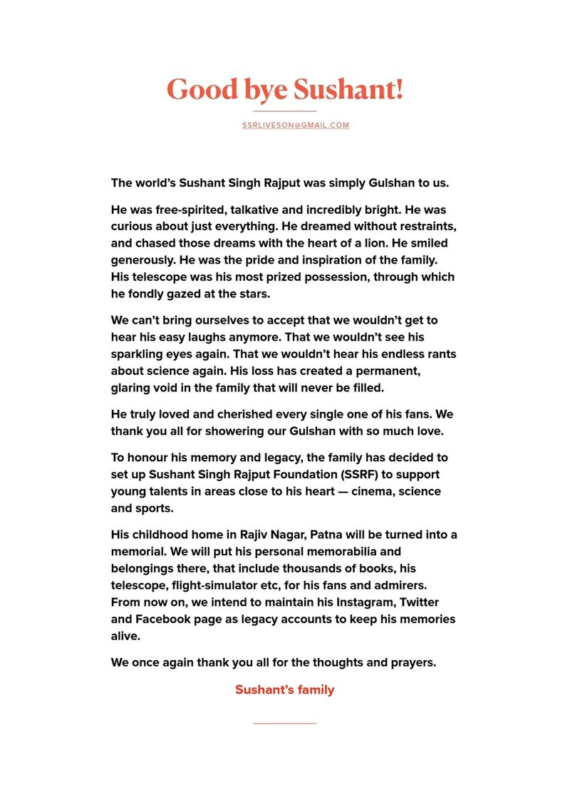Sushant Singh family statement