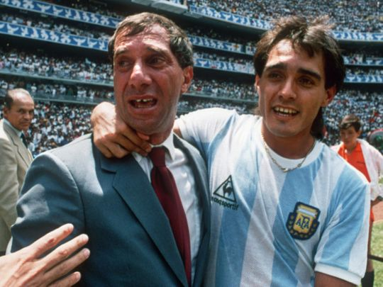 Argentina's Pedro Pasculli celebrates with coach Carlos Bilardo after Argentina beat West Germany 3-2 in the World Cup final in Mexico City.
