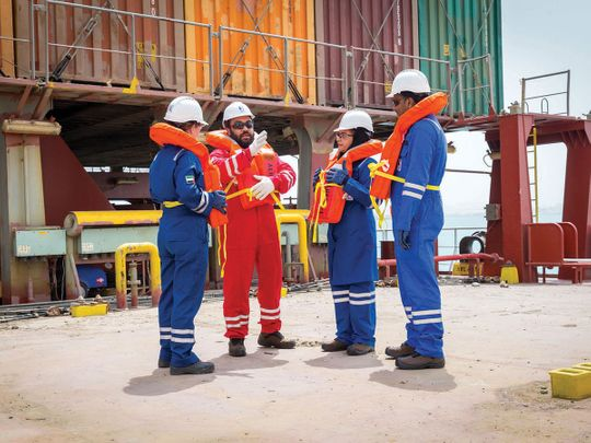 Seafarers discuss safety protocols dockside