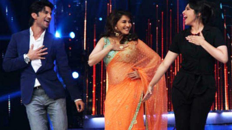 Sushant Singh with Madhuri Dixit Nene and Parineeti Chopra on 'Jhalak Dikhla Ja'