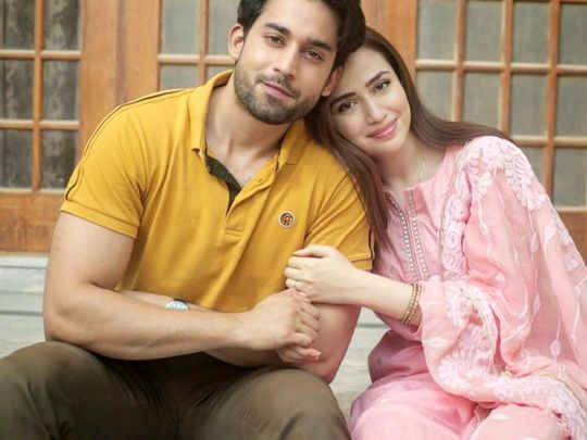 Bilal Abbas Khan and Sana Javed at the shoot of DUNK-1593408408690