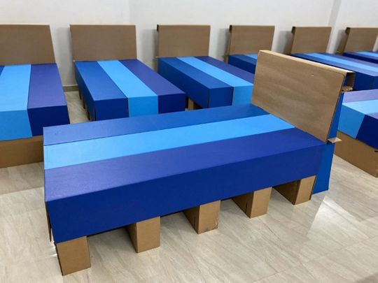 Cardboard beds for COVID-19 patients