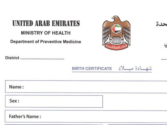Dubai birth certificate