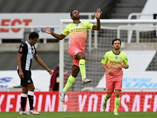 Manchester City's Raheem Sterling celebrates scoring against Newcastle.