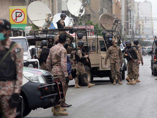 Stock Exchange Building karachi Pakistan security forces