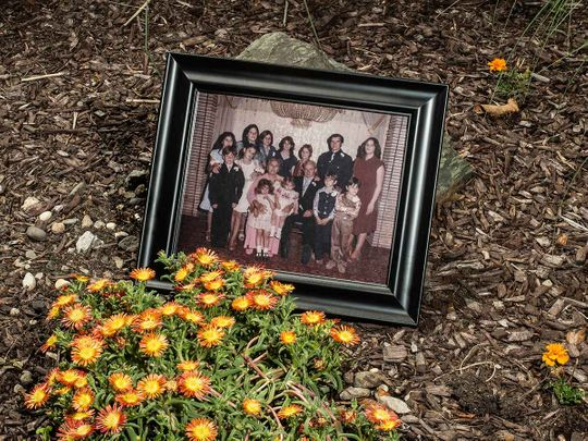 A photograph of the Fusco children and their parents, Grace and Vincenzo, from 1980, is displayed in Freehold, N.J., on June 9, 2020. The Fusco family lost five relatives to the coronavirus.