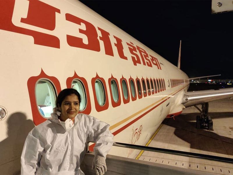 The crew donned PPEs as they got ready to fly stranded Indians back home