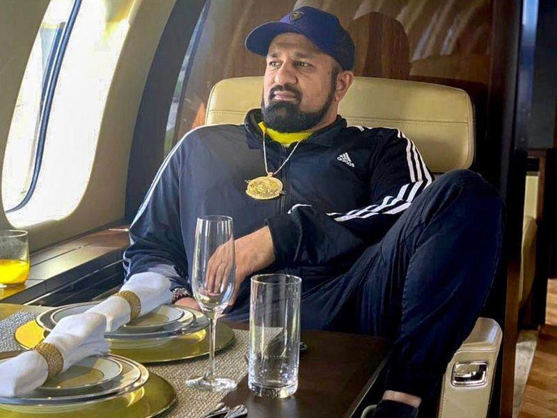 Com Mirza in a private jet