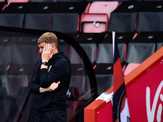 Bournemouth manager Eddie Howe reacts during the English Premier League soccer match between Bournemouth and Newcastle at Vitality Stadium in Bournemouth, England, Wednesday, July 1, 2020. (Glynn Kirk/Pool via AP)