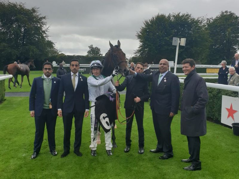 Ahmed Al Shaikh (second from right) with trainer Andrew Balding (right), jockey Tom Marquand and friends after Khalifa Sat won his maiden at Goodwood last September. Pic courtesy Ahmed Al Sheikh...