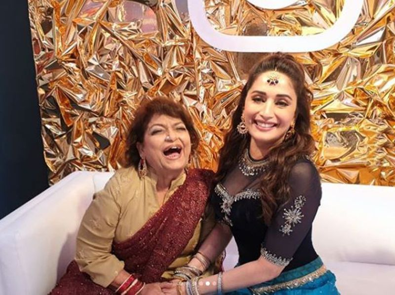 Saroj Khan and Madhuri Dixit Nene