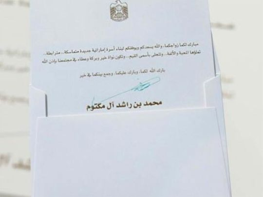 Emirati newly-weds get congratulatory playing cards from Sheikh Mohammed 3