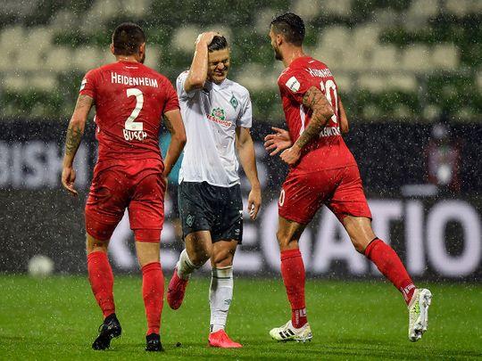 Werder Bremen's Milot Rashica reacts disappointed during the play-off against Heidenheim in Bremen