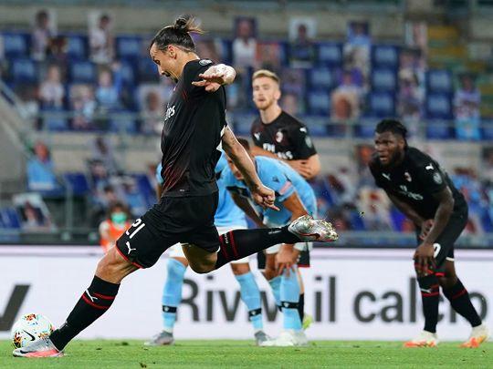 AC Milan's Zlatan Ibrahimovic scores his side's 2nd goal against Lazio
