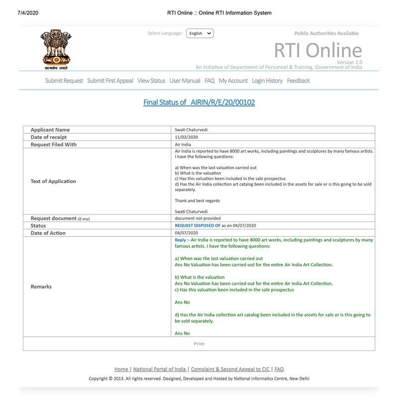 Air India ART RTI