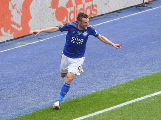 Leicester's Jamie Vardy celebrates after scoring during the English Premier League soccer match between Leicester City and Crystal Palace at the King Power stadium in Leicester