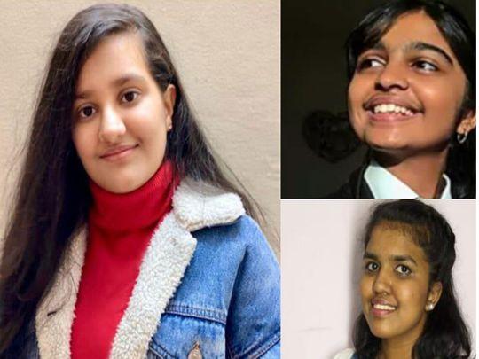 Right to left clockwise, Jasmine Baldev Raj, Shurthi Satish and Oviya Shanmugasundaram