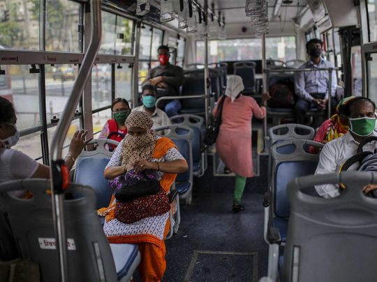 Mumbai bus masks India passengers