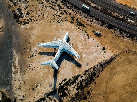 Abandoned plane in Um Al Quwain