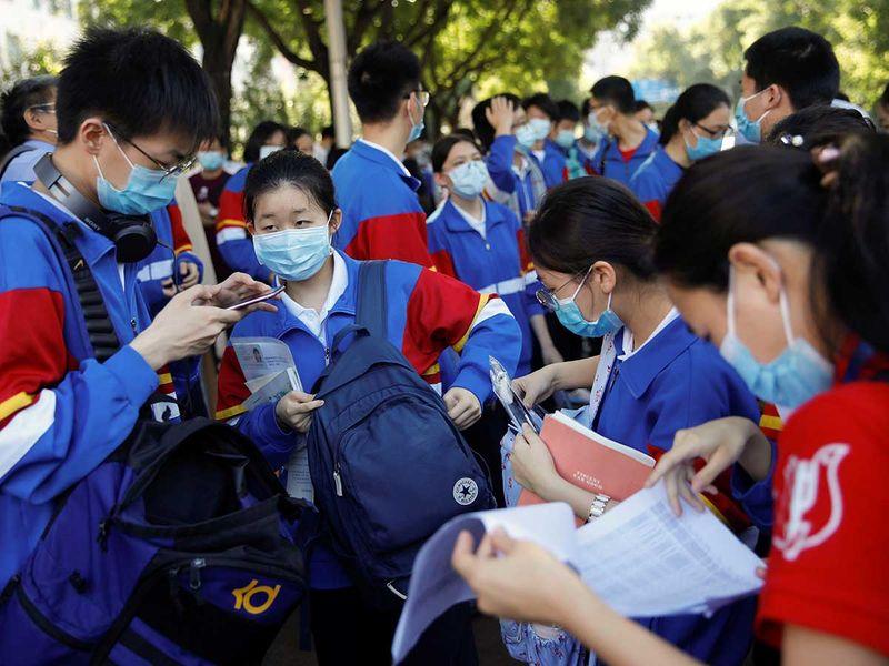 Beijing students exam national face masks China