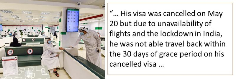 Fined for cancelled visa