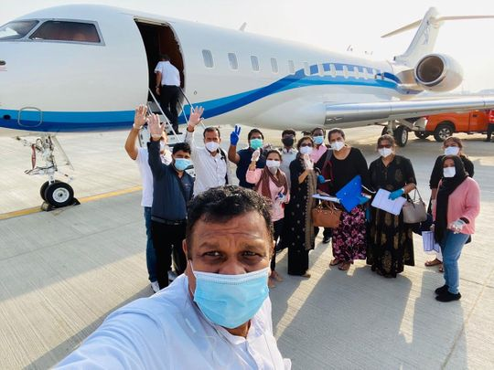A group of 13 Indians who recently flew back via private jet
