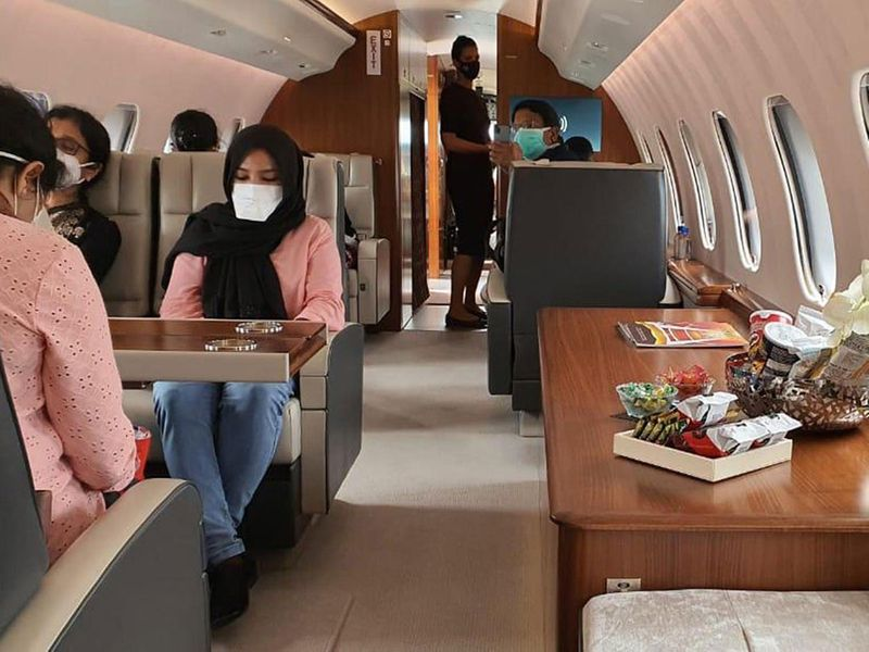 A view from inside a recent private jet repatriation flight