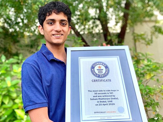Dubai teen breaks record for most hops from side to side