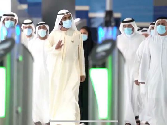Sheikh Mohammed at the launch of the Dubai Metro Red Line extension project on Wednesday