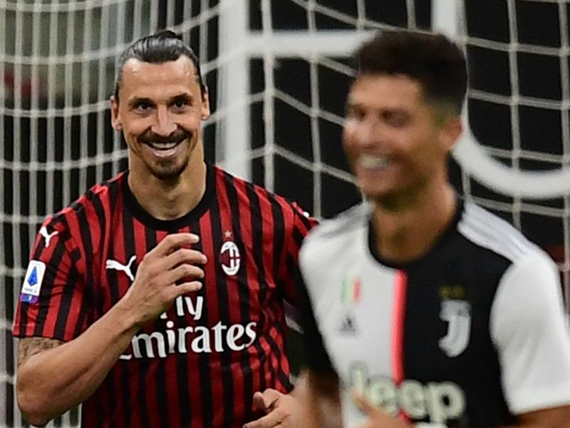 AC Milan's Zlatan Ibrahimovic  has a smile at Juventus' and Cristiano Ronaldo's expense.
