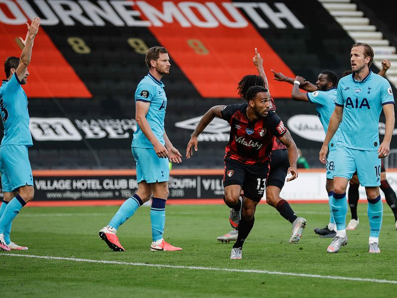 Bournemouth's Callum Wilson celebrates his goal before it was disallowed by VAR