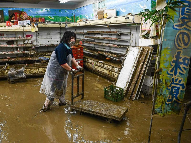 Japan flood supermarket