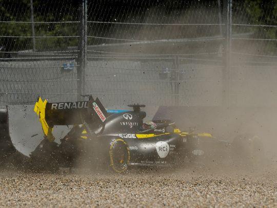 Daniel Ricciardo crashes during practice at the Styrian GP