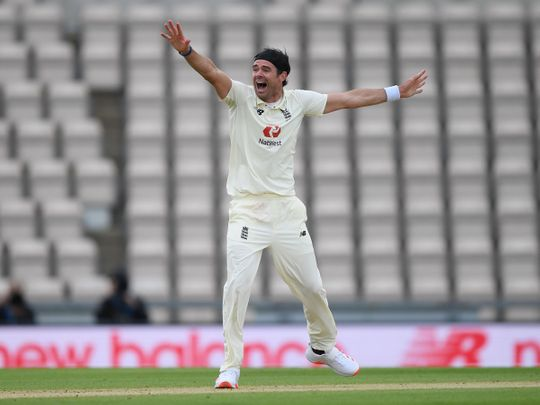 England's James Anderson appeals for the wicket of West Indies' John Campbell during the first Test at the Ageas Bowl in Southampton