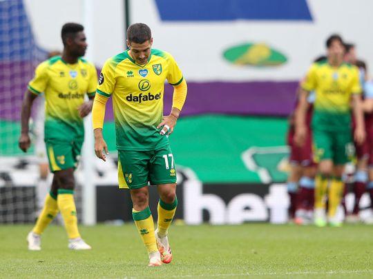 Jarrod Bowen is dejected as Norwich are relegated