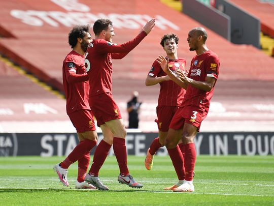 Liverpool celebrate their opener against Burnley