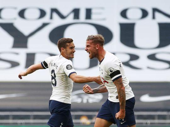 Tottenham Hotspur's Toby Alderweireld celebrates scoring the winner against Arsenal