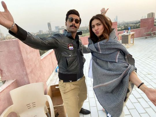 Mahira Khan and Fahad Mustafa in a BTS image of QUAID I AZAM ZINDABAD-1594623186579