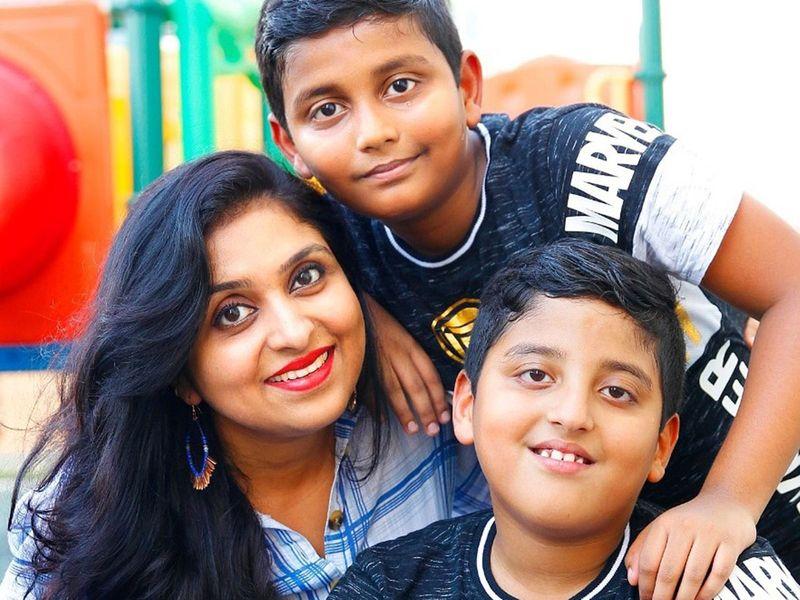 Aiswarya Prince and sons Abhinav and Vaibhav