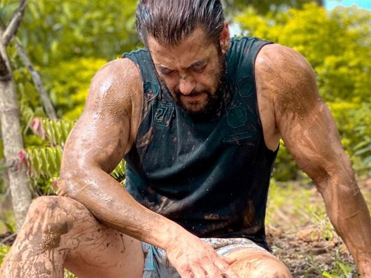 Bollywood actor Salman Khan shared this photo of himself covered in mud