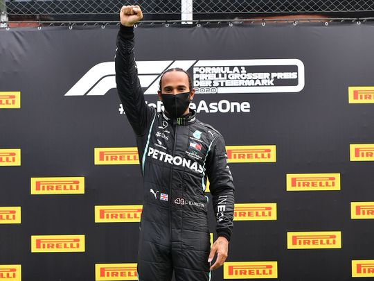 Lewis Hamilton on the podium after winning the Styrian Grand Prix