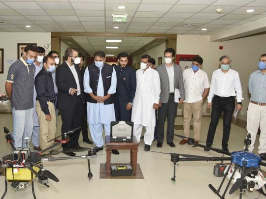 Pakistan Federal Minister for Science & Technology Fawad Chaudhry drones locust