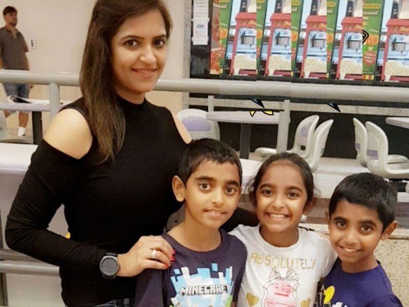 Pooja Bathija and her triplets Sana, Rahan and Bhuvan