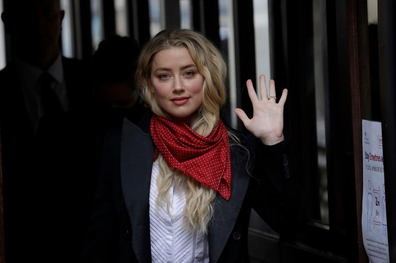 Amber Heard outside a London court