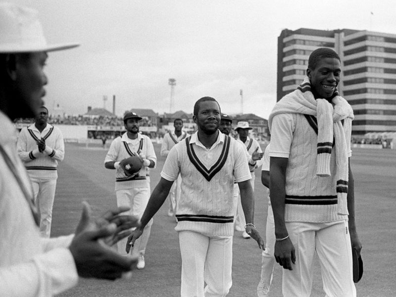 Curtly Ambrose and Malcolm Marshall at Trent Bridge